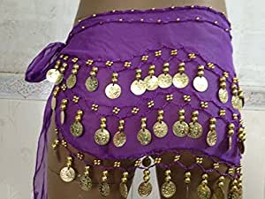 LanLan Gold Coins Belly Dance Skirt Purple (Great Gift Idea)