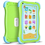 """YUNTAB Q91 Kids Edition Tablet, 7"""" Display, 8 GB, WiFi, Kids Software Pre-Installed, Premium Parent Control, Educational Game Apps, Protecting Silicone Case (Cute Green-Q91)"""