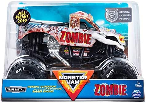 Amazon Com Mj Monster Jam Official Zombie Monster Truck Die Cast Vehicle 1 24 Scale Toys Games