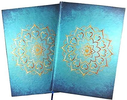 Cuaderno / Diario: Mandala, color turquesa azul oro, A5, páginas en blanco, de tapa dura, con cajón de regalo