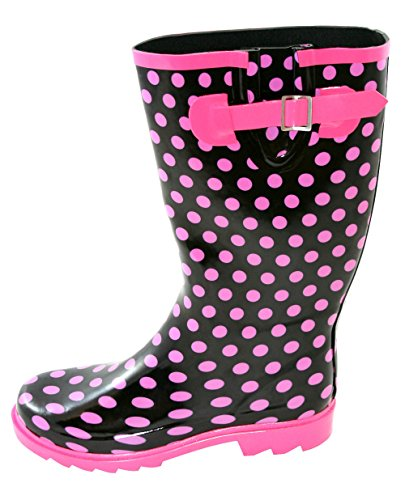 Fit Pink Wide Spots Wellies Black with PdnOwp