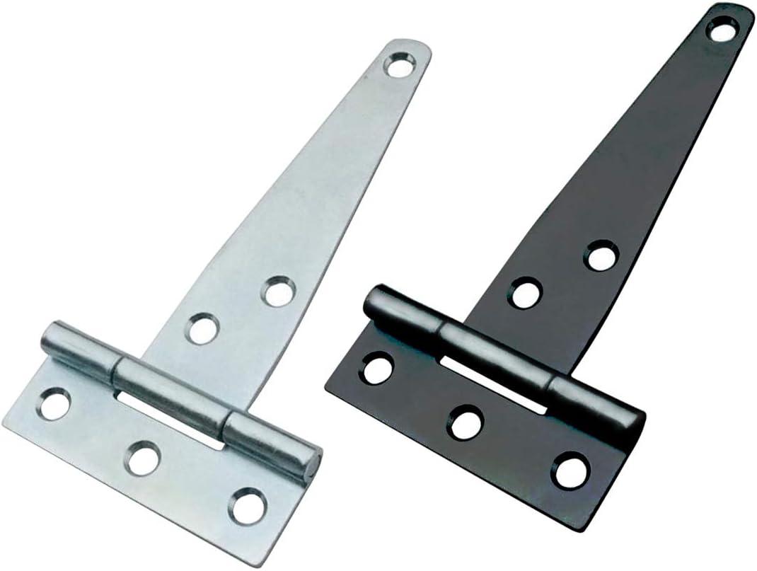 150 mm 2 St/ück T-Scharniere aus Metall mit gl/änzender Oberfl/äche verzinkt ideal f/ür den Au/ßenbereich als Scharniere an Tort/üren sch/ützt vor Witterungseinfl/üssen Schuppent/üren und Scheunent/üren