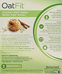 Better Oats, Oat Fit Instant Oatmeal, Cinnamon Roll, 10 Pouches per Box (Pack...