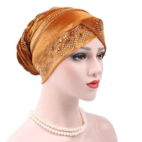 Hat Bowler Velvet (Ecurson Women Muslim Stretch Turban Hat Velvet Hair Loss Head Scarf Wrap (Gold))