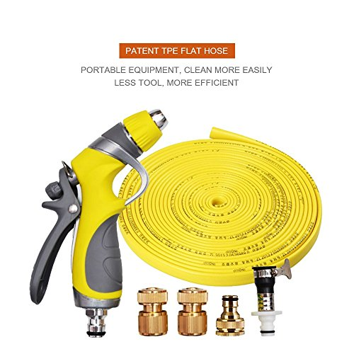 Vetroo 15m / 50ft Lay-Flat TPE Discharge Garden Water Hose Pipe (Copper Alloy) Heavy Duty High Pressure Nozzle Sprayer (Yellow) ()
