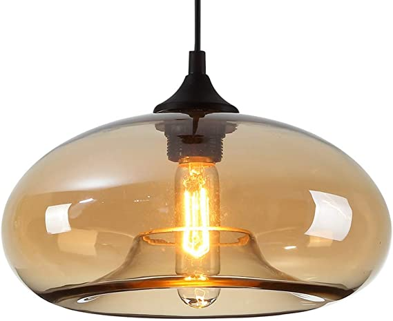 HomeLava Lámpara Pendiente de Vidrio Base E27 Lámpara de Techo Interior para Salón/Dormitorio/Oficina/Tienda, Amarillo: Amazon.es: Hogar