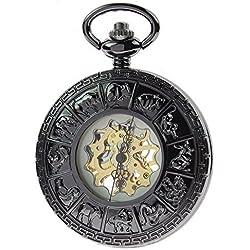 ZIJAE Zodiac Retro Vintage Men's Black Mechanical Hand Wind Up Pocket Watch Steampunk