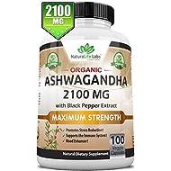 Organic Ashwagandha 2,100 mg - 100 Vegan Capsules Pure Organic Ashwagandha Root Extract and Powder - Natural Anxiety Relief, Mood Enhancer, Immune & Thyroid Support, Anti Anxiety