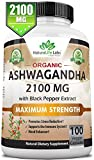 Organic Ashwagandha 2,100 mg - 100 Vegan Capsules Pure Organic Ashwagandha Root Extract and Powder - Natural Anxiety Relief, Mood Enhancer, Immune & Thyroid Support, Anti Anxiety