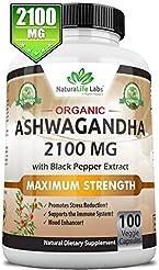 Organic Ashwagandha 2,100 mg - 100 Vegan...