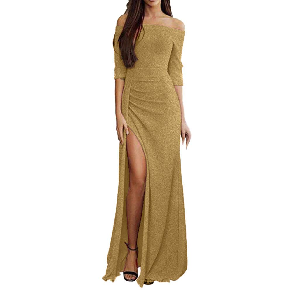 Gibobby Womens Elegant High Slit Cocktail Long Maxi Dress Off Shoulder Ruched Metallic Knit Evening Party Cocktail Dresses