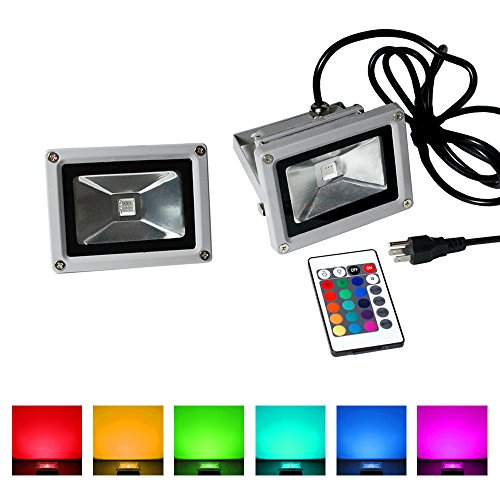eTopLighting LEFRGB10CP-2P 2 Pack LED RGB Flood Light 10W 120V Us Cord Plug Remote Control Color Changing Waterproof IP65 Outdoor Lighting