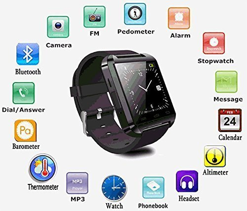 Sensivo Samsung Galaxy J7 Prime Compatible Bluetooth Smart Watch Phone With  Camera and Sim Card / Memory Cards Support (U8 Black)