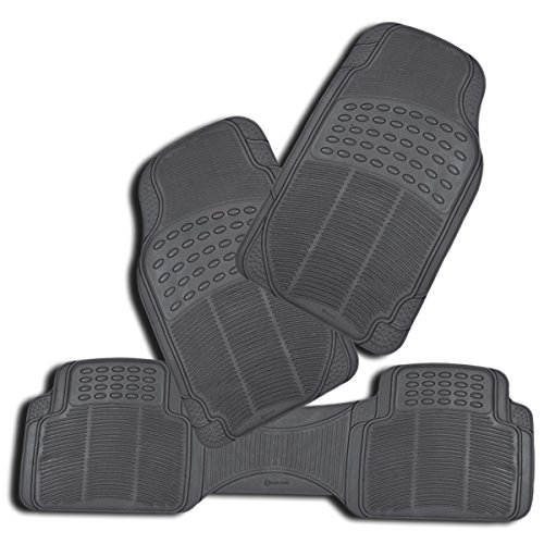 Zento Deals 3 Piece Gray Premium Quality Universal Fit Trimmable Full Rubber All Weather Heavy Duty Vehicle Floor Mats (Car Floor Mats Monogrammed compare prices)