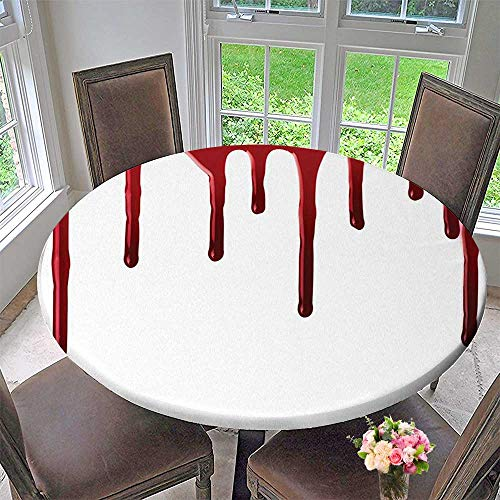 Mikihome Round Table Tablecloth Flowing Blood Spooky Halloween Zombie Crime Scary Help me Themed Red White for Wedding Restaurant Party 43.5
