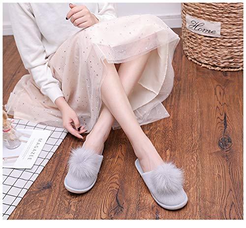 por Gris Cálido Casa Slippers Confortables de Suave Zapatillas Pantuflas Fluff Estar Invierno Mujer Antideslizantes Zapatos qfnCwZ