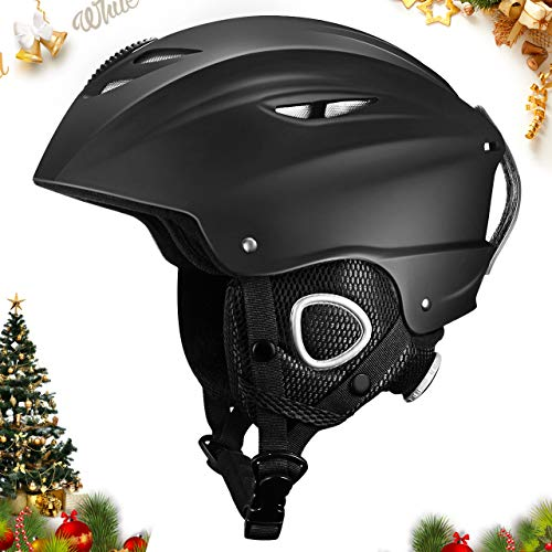 OMORC Ski Helmet, Snowboard Helmet with Detachable Ear Flaps and Velvet Lining, Snow Helmet Compatible with Ski Goggles - for Men, Women & Youth ()