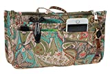 Vercord Printed Purse Handbag Tote Insert Organizer 13 Pockets With Zipper Handle Peacock