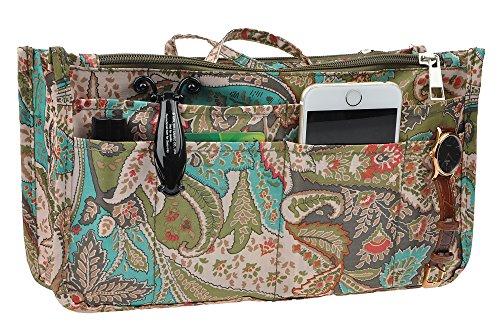 Peacock Fabric Handbags - Vercord Printed Purse Handbag Tote Insert Organizer 13 Pockets with Zipper Handle Peacock Flowers Medium