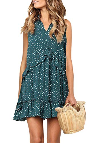 Women's A-Line Sleeveless Wave Point Dress Little Cocktail Party Chic Dress Green X-Large