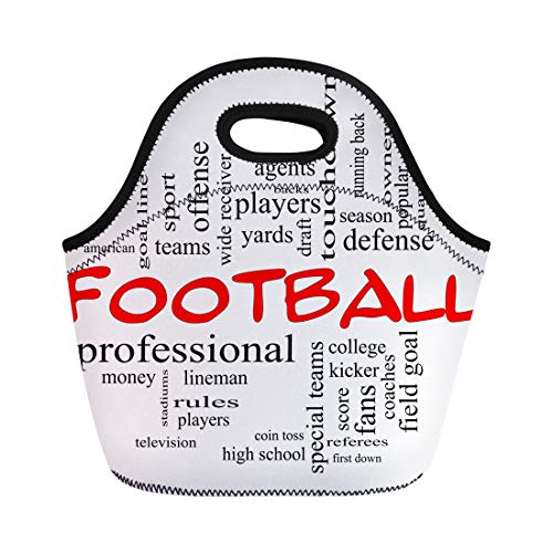 Semtomn Lunch Tote Bag Football Word Cloud in Red Caps Great Terms Such Reusable Neoprene Insulated Thermal Outdoor Picnic Lunchbox for Men Women