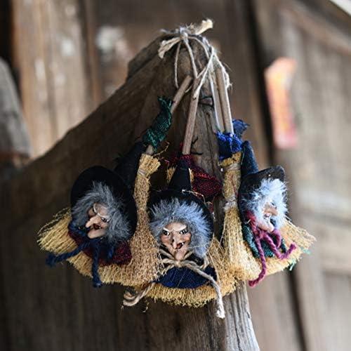 Amosfun - Escoba de Bruja Colgante de Bruja, espantapájaros ...