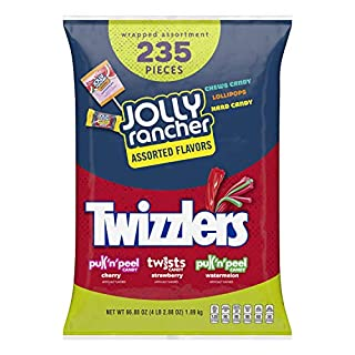 Hershey's JOLLY RANCHER & TWIZZLERS Bulk Halloween Candy Variety Pack, 66.88 Oz, Fun Size, 235 Pieces