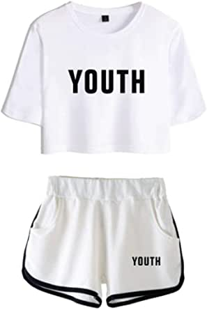 Silver Basic Conjunto de Camiseta y Pantalones Cortos Shawn Mendes 98 para niñas Conjuntos de Verano de Manga Corta Casual