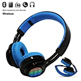 Wireless Bluetooth LED Stereo Headphone, Costech Bluetooth v4.0 Headset with Microphone Waterproof Support Music Streaming Hands-Free Calling for Smartphones (Blue)