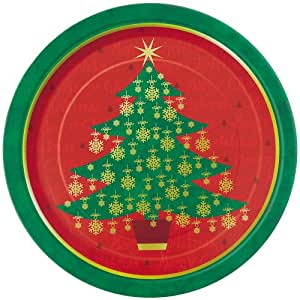 8 Count Christmas Tree Dinner Plates, 9-Inch, Golden