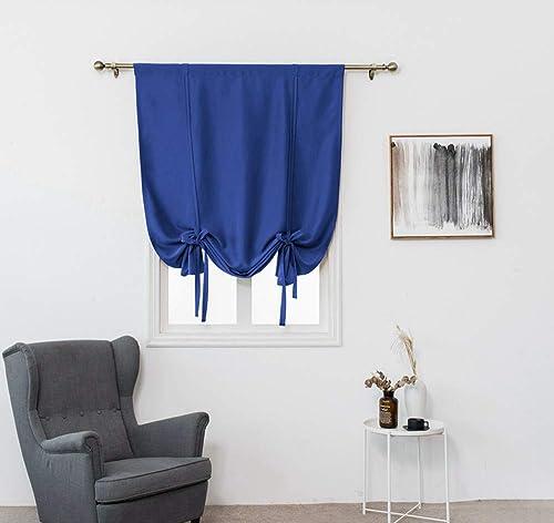 HomeyHo Small Kitchen Window Curtains Room Darkening Shades Blackout Rod Pocket Blackout Curtains Tie Up Blackout Tie Up Curtains Energy Efficient Balloon Blinds, 31 x 47 Inch, Dark Blue