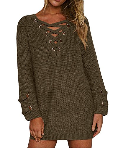 BOBIBI Womens Lace Up Front V Neck Long Sleeve Knit Pullover Sweater Mini Dress Top, Army Green