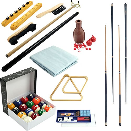 32 Piece Billiards Accessories Set for Your Pool Table - Includes 4 Cue Sticks! by TMG