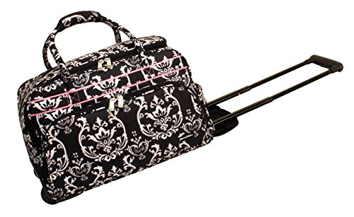 jenni-chan-damask-deluxe-carry-all-rolling-duffel-black-pink-one-size