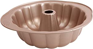 10-Inch Nonstick Fluted Tube Cake Pan, Bundt Pans Bakeware with Handles for Oven Baking Champagne Gold