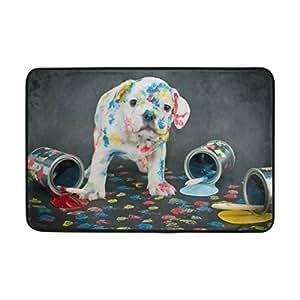 ALAZA - Felpudo para puerta de mascota, diseño de bulldog de plata, pintado, para dormitorio, puerta, cocina, interior, decoración del hogar, 60 x 40 cm