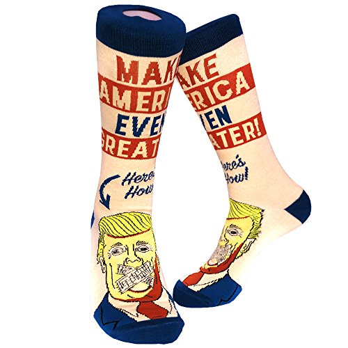 Make America Even Greater Socks Funny Trump Political Footwear (Ivory) - Mens (7-12)