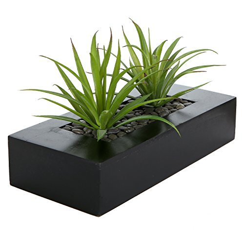 MyGift Artificial Green Grass Plants in Decorative Black Wood Rectangular Planter -