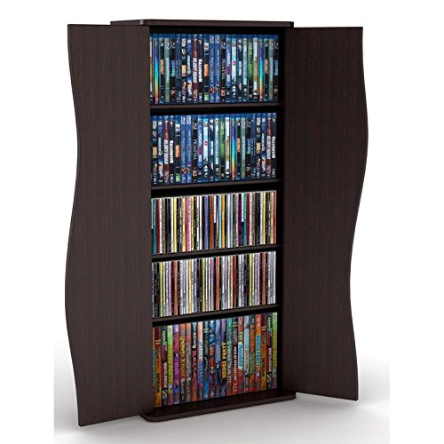 Multimedia Cabinet Storage Cd Dvd Tower Rack Shelf Media Organizer Stand Shelves Leslie Dame Movie Oak Wall New by HealthyLifeStyle52
