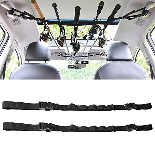 KUDES 2 Pack Vehicle Fishing Rod Rack Holder Adjustable 41 to 62 inch Easy Install Fishing Car Rod Carrier Belt Strap for SUV, Wagons, Van (Black) (Fishing Rack Jeep Pole)