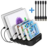 JZBRAIN Multi Device Charging Station 5 Port USB Tablet Charging Dock for Cellphone & Android Devices (Black, 2 Ap & 3 Micro USB Short Cables Included)