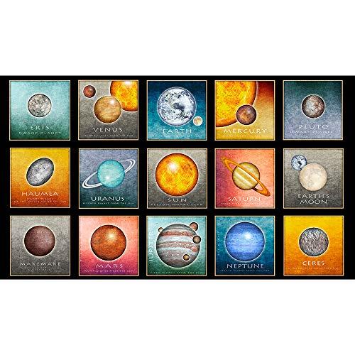 - Quilting Treasures Dan Morris Intergalactic Planets Black Picture Patches 24