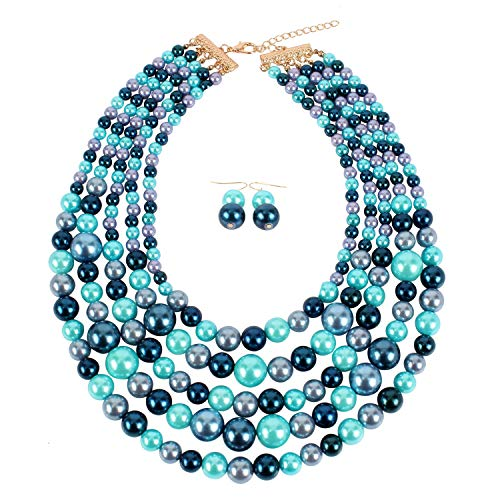 KOSMOS-LI Faux Pearl Strands Necklace for Women Blue Mix Tone Costume Statement Jewelry ()