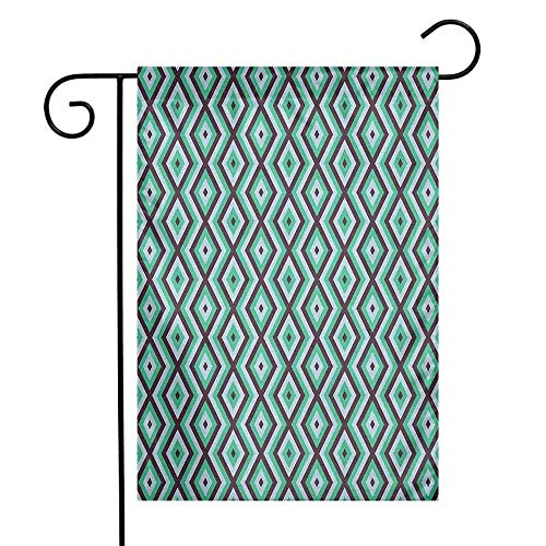 (duommhome Teal and White Garden Flag Abstract Geometric Minimalists Design Retro Diamond Line Decorative Flags for Garden Yard Lawn W12 x L18 Sea Green Baby Blue Seal Brown)