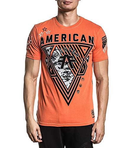 American Fighter FM8068 Goodwell Short Sleeve Tee in Red Orange Pigment Dye (xx-Large)