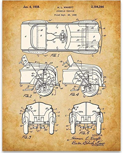 Pedal Car Patent - 11x14 Unframed Patent Print - Great Child's Room Decor Under $15 from Personalized Signs by Lone Star Art