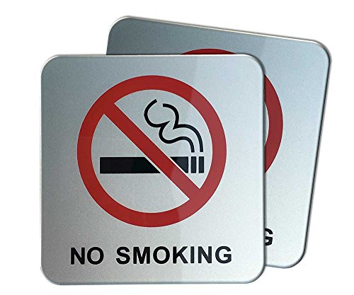 dealzEpic - No Smoking Sign | Self Adhesive Acrylic Sign - 3.95x3.95 inches | Set of 2 pcs by dealzEpic