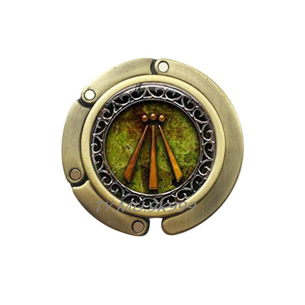 Awen Bag Hook Occult Jewelry Esoteric Symbol Charm Purse Hook,Awen Purse Hook,Protection Amulet Flowing Spirit Poem Bard Bag Hook.Y255