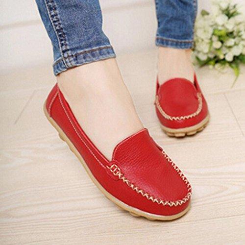 Ama (tm) Femmes En Cuir Flats Slip Sur Les Mocassins Doux Confort Conduite Chaussures Chaussures Vin
