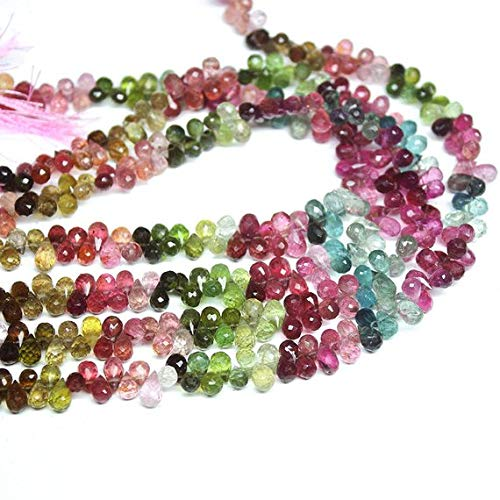 Natural Gems Jewelry Natural Watermelon Tourmaline Faceted Briolette Tear Drop Briolette Gemstone Craft Loose Beads Strand 10
